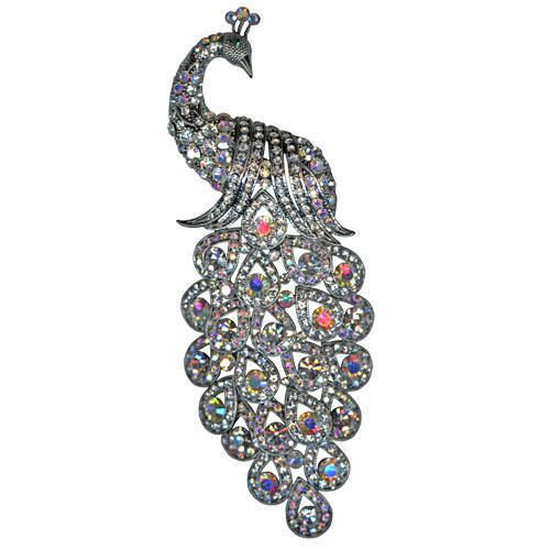 Kirks Folly Proud Peacock Paradise Pin   Crystal/AB NEW