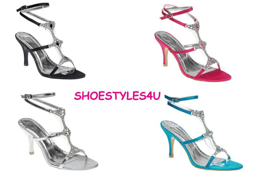 WEDDING PROM PARTY SANDALS SHOES HEELS TURQUOISE PINK BLACK SILVER