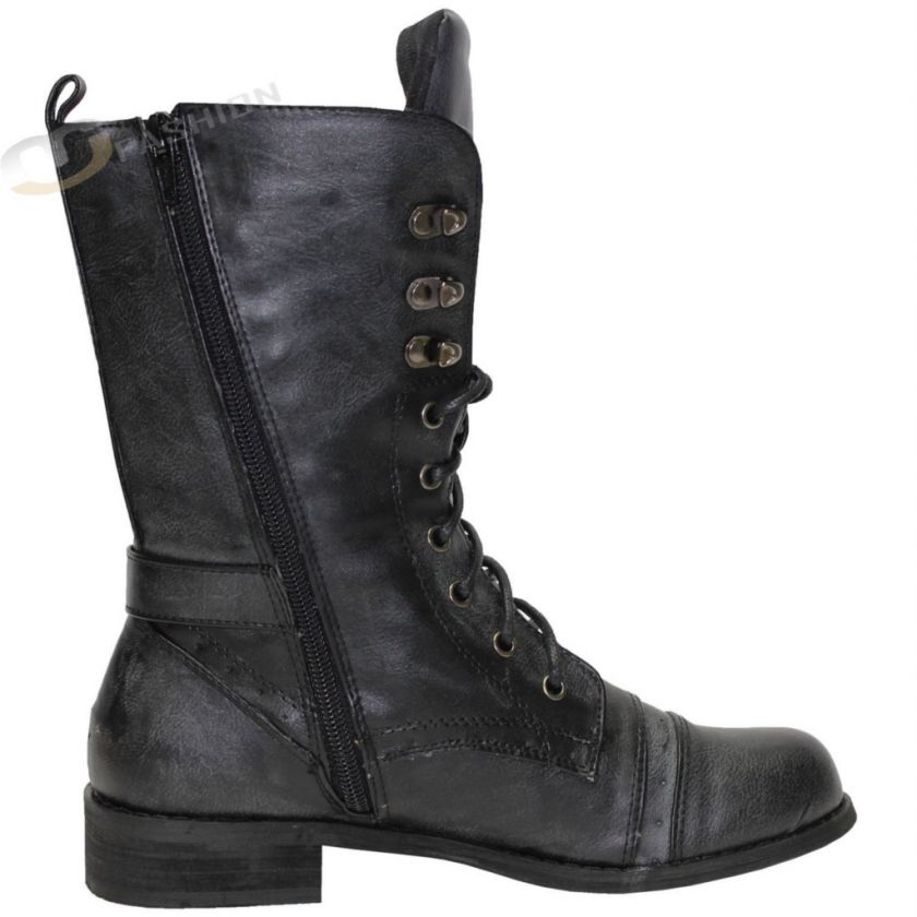WOMENS LADIES HIGH TOP MILITARY ARMY COMBAT WORKER BOOTS SHOES SIZE 3