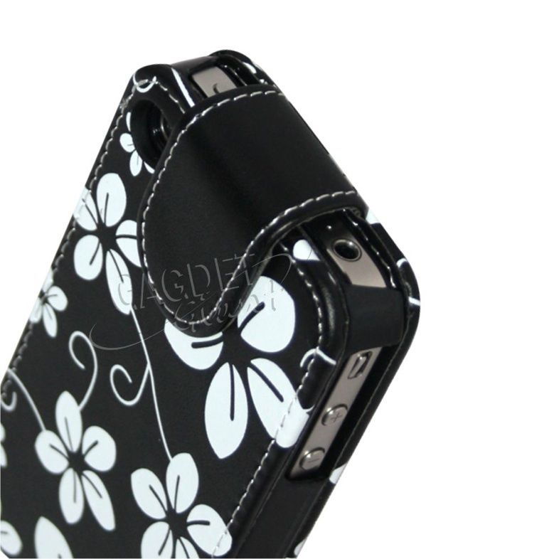 LEATHER FLIP CASE COVER POUCH FOR APPLE IPHONE 4 + SCREEN FILM