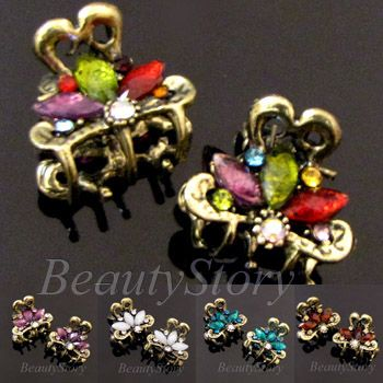 Item  2 antiqued rhinestone crystal flower hair claw clip