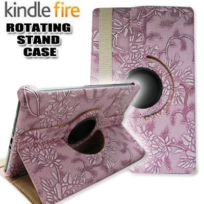 Leopard Kindle Fire Rotating Case Cover/Car Charger/USB Cable/Stylus